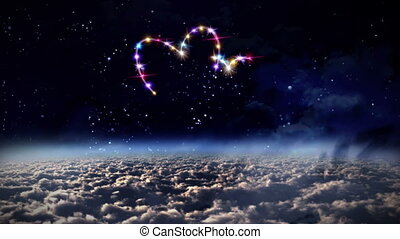hearts color star in outer space - starry night in space...