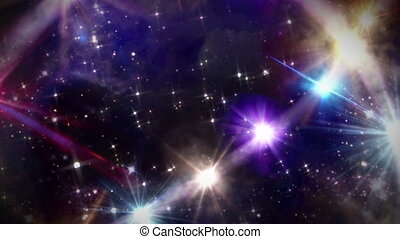 hearts color star space camera track in