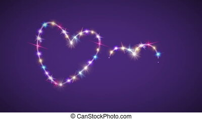 hearts color star with purple background