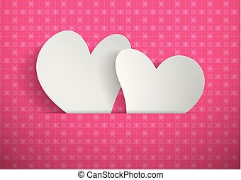 Hearts cut from paper with pink pattern background