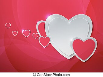Hearts cut out from Paper on Abstract Pink Background