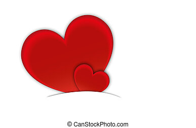 hearts., dag, kaart, valentine