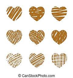 hearts., day., illustrazione, set, vettore, dorato, valentine