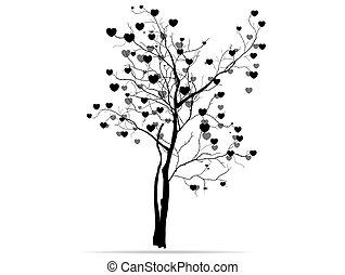 hearts., disegno, albero