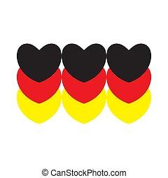 hearts., drapeau, fait, allemagne