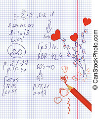 Hearts drawing in the math notebook