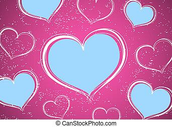 hearts - Valentine postcard (hearts on green background)