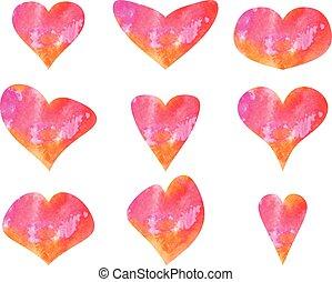hearts., ensemble, aquarelle, vecteur, beau