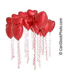 Hearts Everywhere - Multiple red, helium-filled, heart-...