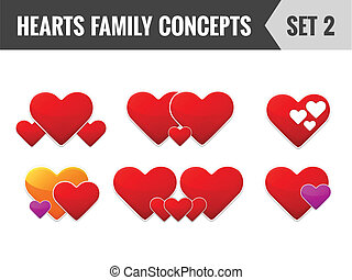 Hearts family concepts. Set 2. Vector illustration.