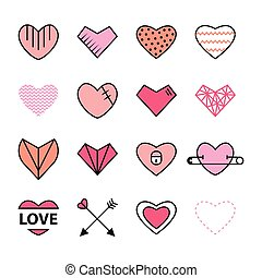 Hearts flat and line icon pink color set