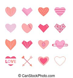 Hearts flat icon set in pink colors