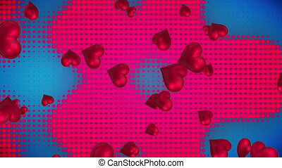 Hearts floating upwards