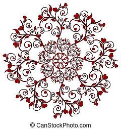 hearts., flor, ornamento