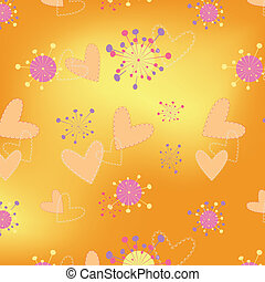 Hearts floral seamless pattern background