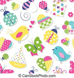 hearts flowers and animals pattern