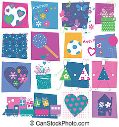 hearts flowers and presents pattern - hearts flowers toys ...