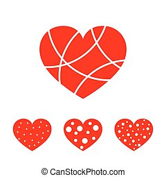 Hearts for the Valentine's day. Vector illustration.