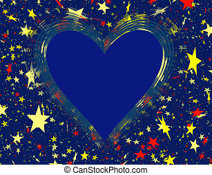 hearts frame with clipping path with stars backgrounds