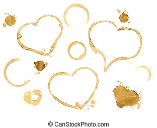 Hearts from coffee drops - Collection of hearts from coffee...