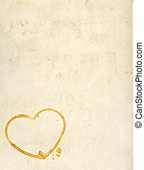 Hearts from coffee drops on old paper texture