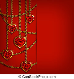 Hearts from ribbon. Valentine's day background. - Elegant...