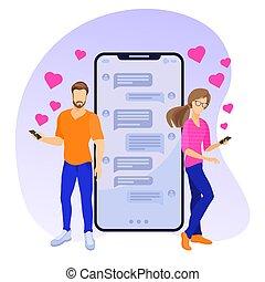 hearts., gens, social, envoi, réseaux, vector., jeune, communiquer