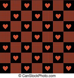 Hearts & Gingham Seamless Pattern.
