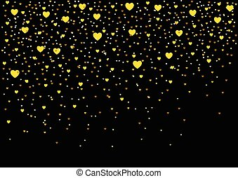 Hearts Gold Dust - Small hearts on black background