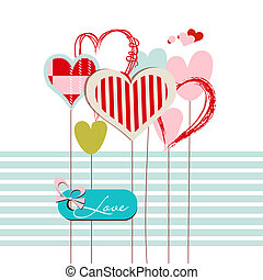 Hearts greeting card with love message