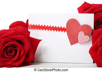 Hearts greeting card with red roses - Hearts greeting card...