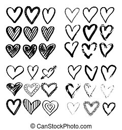 Hearts hand drawn. Big hearts set. Brush effect, marker, children's drawing, texture, hatching