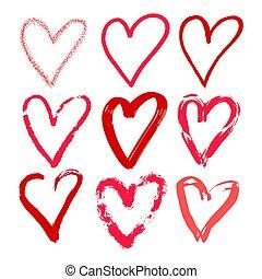 Hearts hand drawn set. Brush, marker, hatching