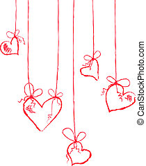 hearts hanging - Vector illustration of several hearts...