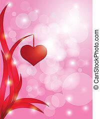 Hearts Hanging on Leaf Bokeh Background