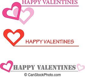Hearts happy valentines on white background