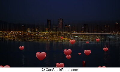 Hearts icon and city view