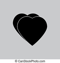 Hearts icon in a flat design in black color