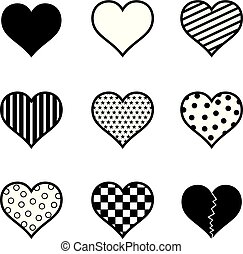 Hearts Icon Set Black Silhouette Vector Illustration