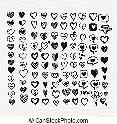 Hearts icon set. Hand drawn Illustration
