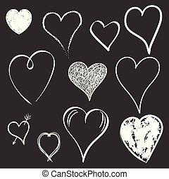 Hearts icon set. Love hand drawn vector illustration on black background.