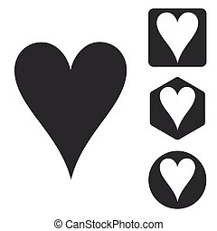 Hearts icon set, monochrome