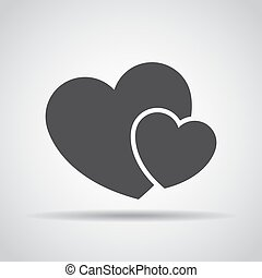 Hearts icon with shadow on a gray background. Vector illustration