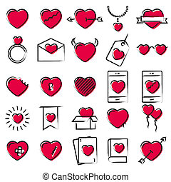 Hearts icons hand drawn style illustration. Love elements for Valentines day, wedding, celebration.