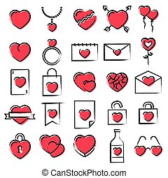 Hearts icons hand drawn style vector illustration. Love elements for Valentines day, wedding, celebration.