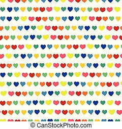 Hearts in a row hand drawn rainbow colors on a white background. Vector seamless pattern. Blue, green, orange, yellow, pink, and red handmade hearts in a row. Line of hearts. Perfect for backgrounds, fabric, paper projects, wallpaper, packaging.