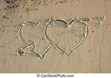 hearts in a sand