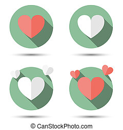 Hearts in flat icon style.