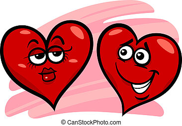 hearts in love cartoon illustration