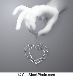Hearts in man hand